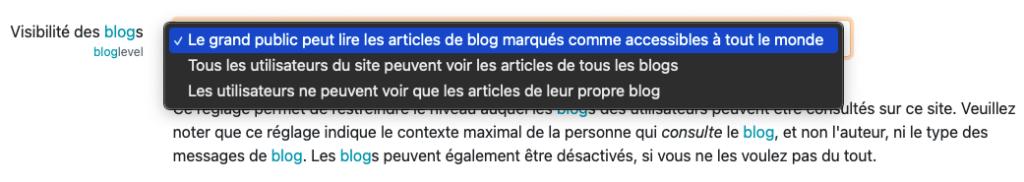 paramètre visibilité des blogs