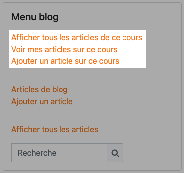 menu blog dans un cours