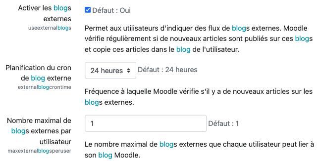 paramètre activer les blogs externes